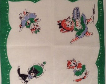 Fluffy The Good Cat - Vintage Children's Hankie/Hanky/Handkerchief