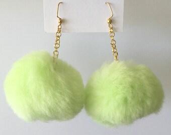 Pale Green Pom Pom Earrings