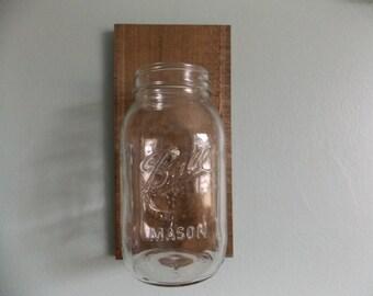 Mason Jar Wall Decor, Mason Jar Wall Sconce, Reclaimed Wood Wall Sconce, Rustic Mason Jar Sconce