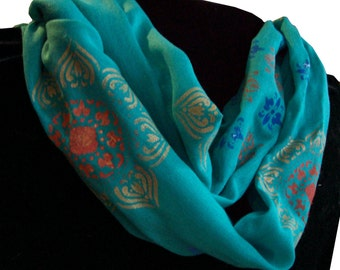 Teal Blue Moroccan Medallion Stencil Sheer Scarf, by Laurel Anne Equine Art