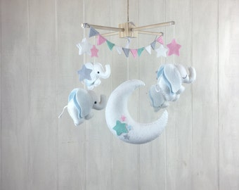 Baby mobile - elephant mobile - cloud mobile - moon mobile - night sky mobile - elephant nursery - baby mobiles