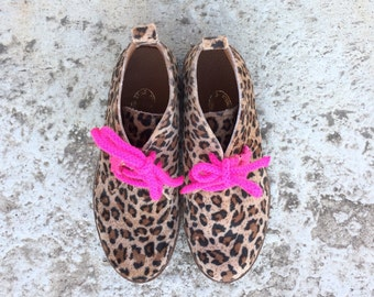 Aelia /ankle boots/ animal print/ leopard /flat / girl shoes/ handmade/ fabric/leather/ fuchsia /