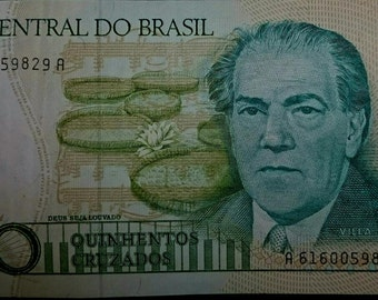 Vintage Lightly Circulated Banco D0 Central Brasil 500 Quinhentos Cruzados Banknote Currency