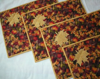 Set of 4 Quilted Autumn Placemats with Appliqued Leaf - Reverses to a beautiful Batik
