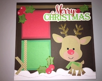 Merry Christmas Scrapbook 12x12 Premade Page with Reindeer