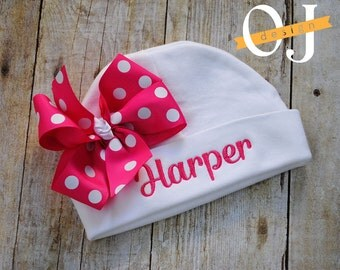 Personalized Name Newborn Hat - Infant Hospital Hat - embroidered - Newborn Hat - Newborn Hat with Bow - Girl - Bright Pink / Hot Pink