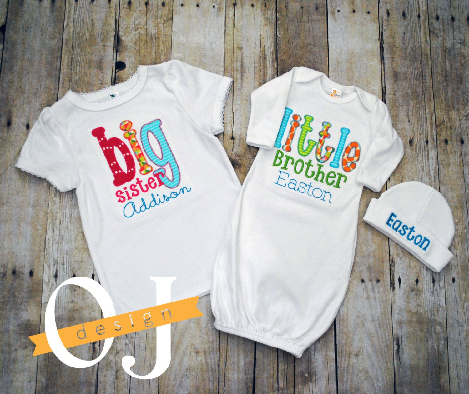 Baby Gifts For Big Brother : Big sister little brother personalized baby boy newborn gift