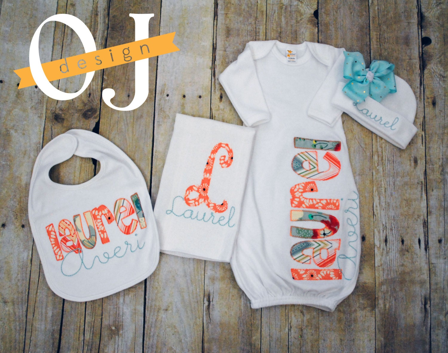 Personalized Baby Gift Sets : Personalized baby girl gift set newborn infant