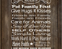 Farmhouse Rules (Farm Rules)  Wood Sign, Canvas Wall Art, Banner - Father's Day, Christmas, Grandma Gift,