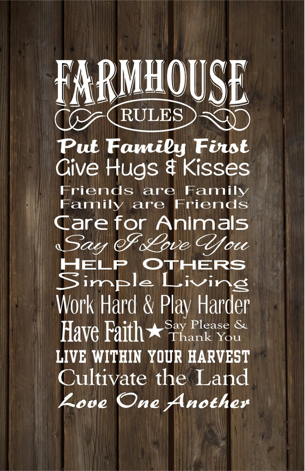 Mother S Day Gift Farmhouse Rules Farm Rules Wood Sign