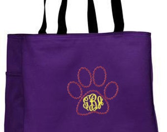Personalized Tote Bag Embroidered Tote Bag Custom Tote Bag - Sports - Cougar Paw - Cat Paw - B0750