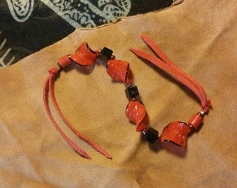 Red and Black Leaf Bracelet