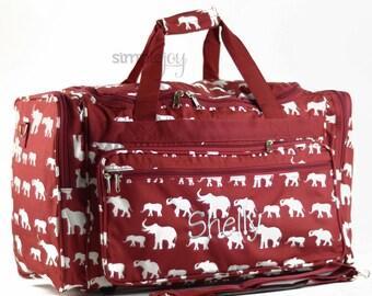 Crimson Duffle Bag, Gray Elephant Bag, Elephant DUFFLE Bag, Gray Luggage, Women Duffle Bag, Gray Elephant Bag, Elephant Luggage, Monogrammed