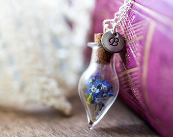 Real Forget me not  Necklace. Antique Silver  romantic  Blown glass. silver caps vial glass. glass ball forget me not. jewelry for her