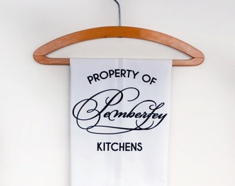 Jane Austen Tea Towel Property of Pemberley Kitchens. Perfect gift for lovers of Pride and Prejudice and Mr Darcy!