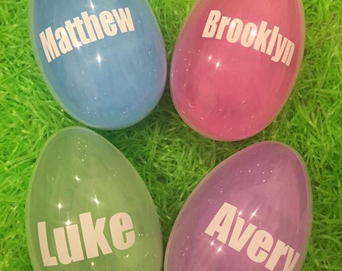 Personalized Large Easter Basket Egg Custom Pink Blue Purple Green