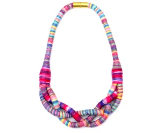 Braided Colorful Textile Rope Necklace, Fabric Necklace, Statement Necklace, Unique Textile Jewelry, Fabric Jewelry, Cotton Necklace