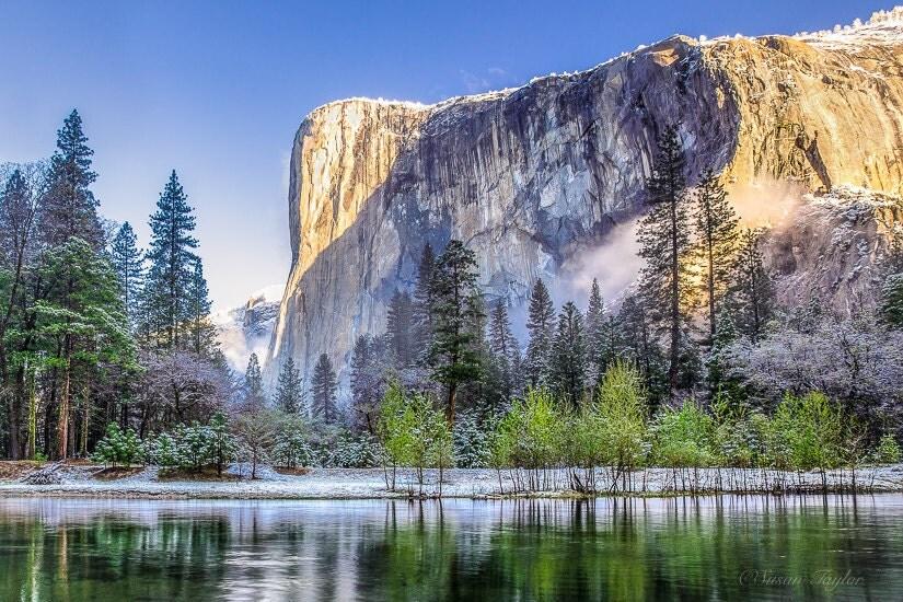 Yosemite snow print california park landscape art el for Landscaping rocks merced ca