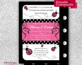 Ladybug Baby Shower Invitation with Polka Dot Back - Pink, Black, and White Accented - Lady Bug - Printable & Personalized - A-00019