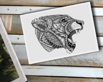 Ornate Lion Head Print, Lion Illustration, Ornate Lion Print, African Lion Print, African Lion Illustration, Big Cat Illustration, Lioness