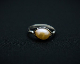 Large Champagne Pearl Ring