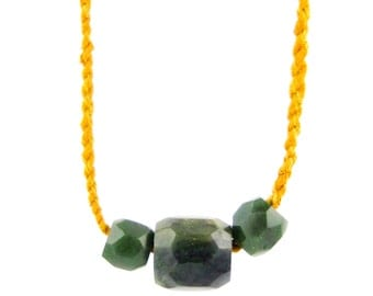 Bohemian Rope Necklace w/ Three Jade Crystals
