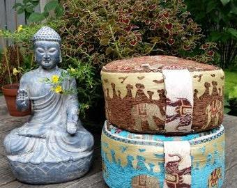Meditation Cushion-Elephants Galore-Tourqoise OR Brown. You pick!- Zafu