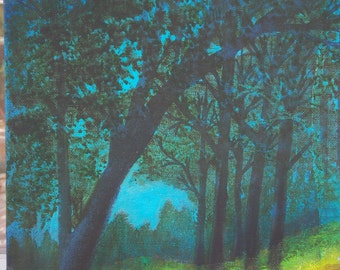 """Original Oil Painting """"Wooded Path""""  9 x 12 Canvas Board Unframed"""