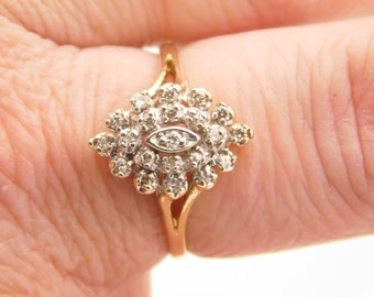 0.33 Carat T.W. Ladies Round Cut Diamond Cluster Ring 10K