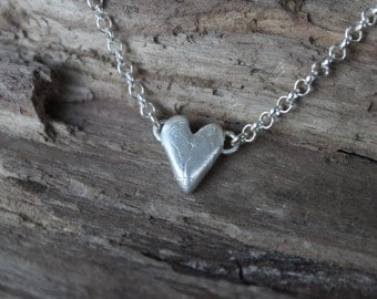 Heart Necklace - Small Heart Necklace, Silver Heart Necklace, Heart Jewelry, Gift for Her, Love Necklace, Gift for Mother's Day