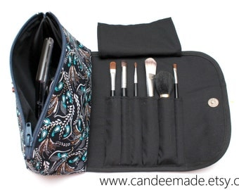 Pretty Paisley Makeup Bag with a Brush Holder and Magnetic Button.