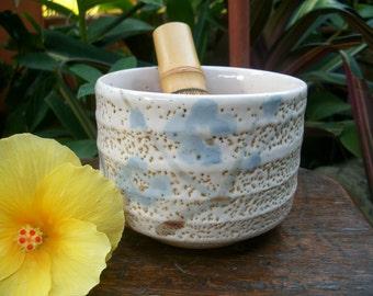 1960s Japanese 志野釉 Shino Glaze Chawan With Plum Flower Design