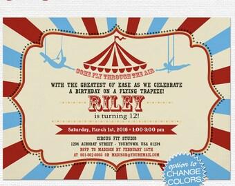 Digital trapeze invitation, Acrobat printable invite, Trapeze birthday party invite card, teenager bday theme