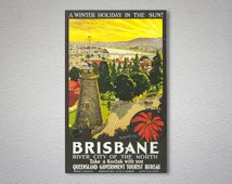 A Winter Holiday in the Sun, Brisbane Vintage Travel Poster - Poster Paper, Sticker or Canvas Print