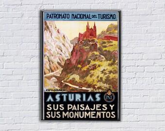 Asturias Sus Paisa Jes y Sus Monumentos  Vintage Travel Poster  - Art Print - Poster Print, Sticker or Canvas Print