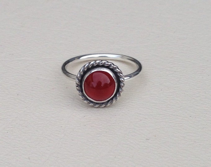 Carnelian sterling silver handmade ring made to order
