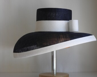 Navy and White Sinamay Wide Brim Hat