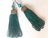 Dark green earrings, Tassel eartings, Long earrings, Chunky earrings, Boho jewelry, Boho chic earrings, Everyday earrings, Boho gifts