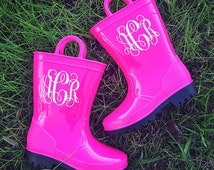 Pink Monogrammed Toddler Childrens Youth Rubber Rain Boots Personalized Gift Girls Boys Kids Wellies Personalized Decals