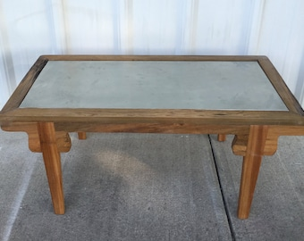 Sinker Cypress Coffee Table With Zinc Inlay