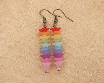 Rainbow earrings, flower earrings, rainbow flower earrings, summer earrings