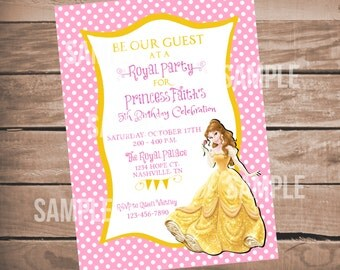 Beauty and The Beast Birthday Invitation, Belle Birthday Invitation, Princess Belle