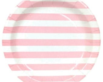 Round Party Paper Plates 9in 12pcs Baby Pink Rugby Stripe PPP090014 - Just Artifacts Brand