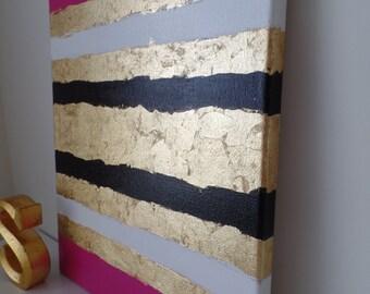 Kate Spade Inspired Acrylic Painting Canvas Pink, white, black, gold leaf, preppy, trendy, fashion decor, stylish wall art, glam, dorm decor