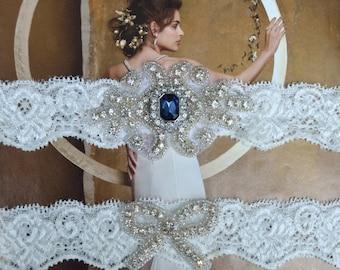 Wedding Garter - Bridal Garter - Pearl and Crystal Rhinestone Garter and Toss Garter Set,  Rosalie Style 10821