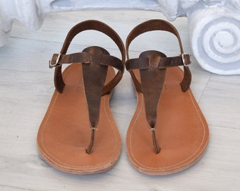 Brown sandals, T bar sandals, Spartan sandals, Roman sandals, men sandals, gladiator sandals, Ancient Greek leather sandals