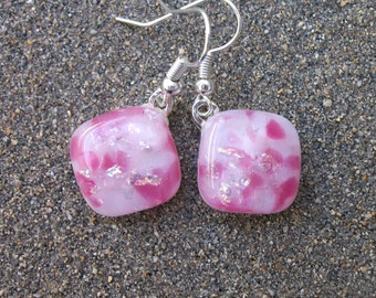Pretty Pink Fused Glass with Dichroic Sparkles Dangle Earrings