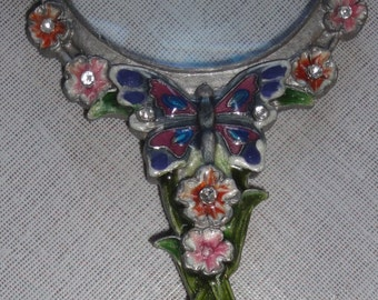 Vintage Magnifying Glass/ Butterflies and Flowers