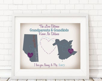 Grandparents Map - Long Distance Love - Long Distance Family Map - Two State Map Print - Love Knows No Distance - Grandparent Map Gift