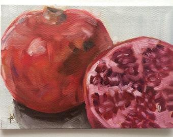 Original oil painting still life - Pomegranite